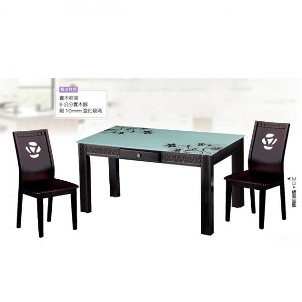 1025白油黑花玻璃實木餐桌-不含椅 1