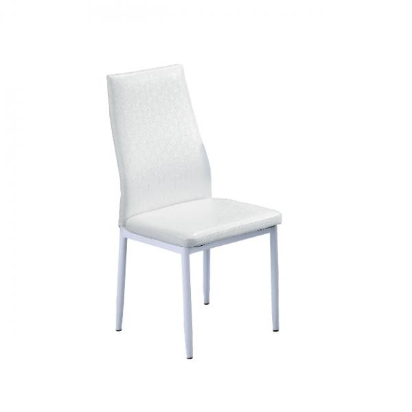 822白色編織皮餐椅 1